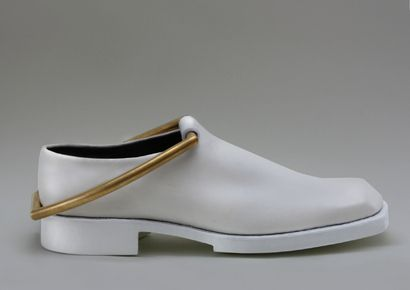 NO. 3- GOLD-PLATED BRACE, HANDWELTED RUBBERIZED SOLES