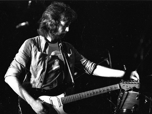 Eric Clapton rock-roll-in-black-white