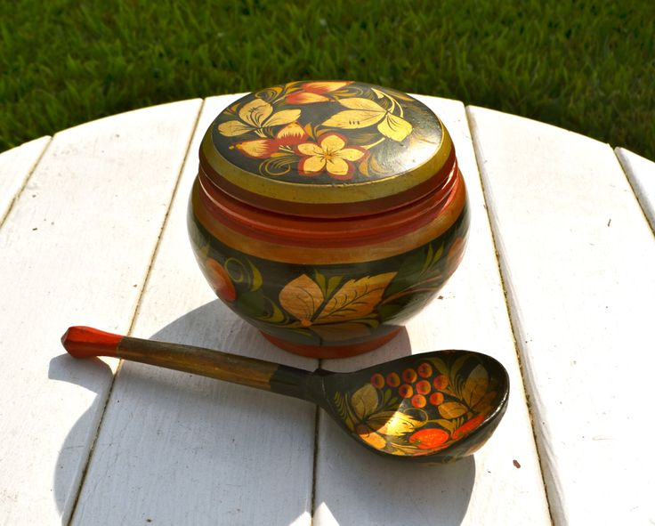 RUSSIAN LACQUER bowl KHOKHLOMA Bowl 1970's black lacquer, lacquerware black, red, Vintage Round Wooden Bowl and Spoon ussr Gold Hand Painted by StudioVintage on Etsy