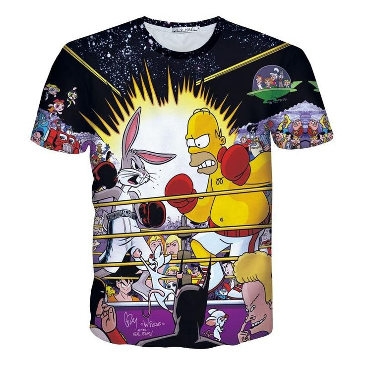 Homer Simpson versus Bugs Bunny Animated Characters Allover Print Tshirt