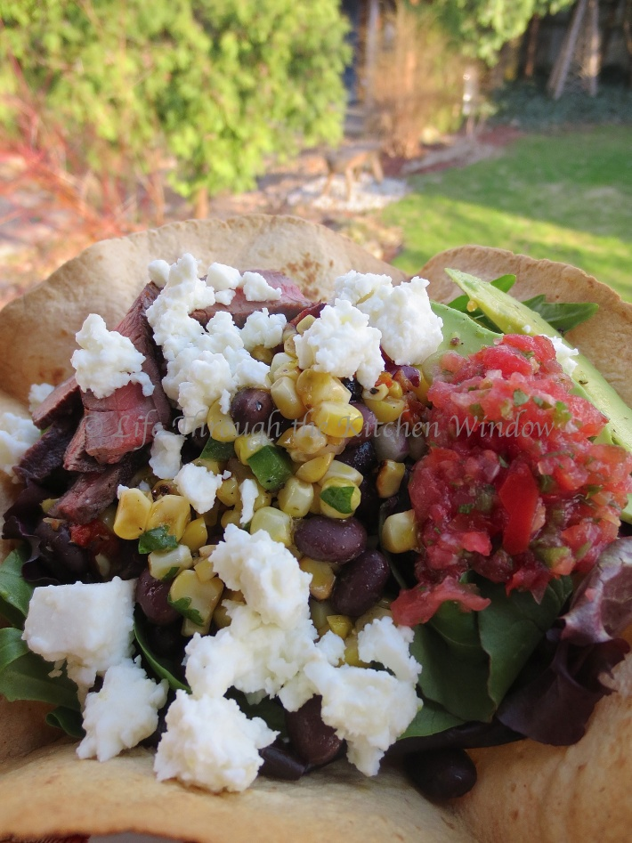Pico de Gallo served with this Tex-Mex Taco Salad with Black Beans, Roasted Corn and Queso Fresco in an Avocado Dressing ┆© Life Through the Kitchen Window