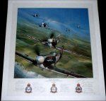 Eagle Squadron by John Shaw. A stunning salute to the pilots of the Eagle Squadrons and their beloved Spitfires as they head out over the channel and the white cliffs of Dover. Signed in pencil by TWENTY-ONE Eagle Squadron pilots.