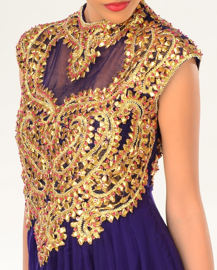 Deep Purple Gota Work Salwar | Goldwork Embroidery | Pinterest | Patti Du0026#39;arbanville Deep Purple ...