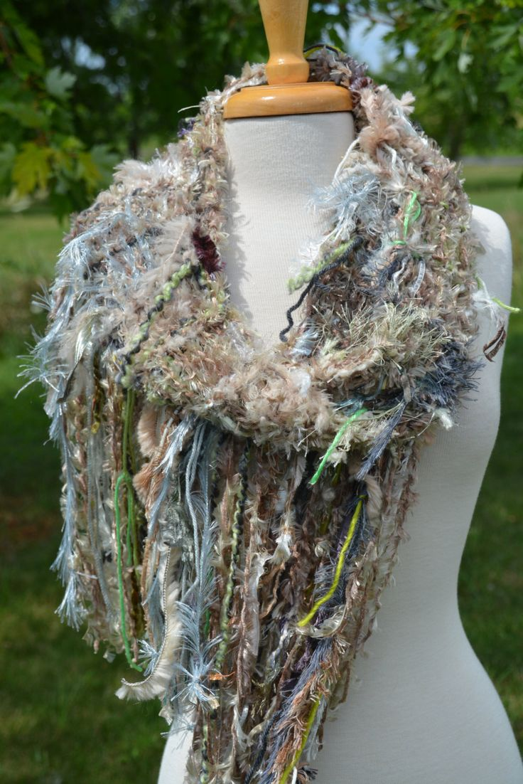 Handmade Knit Scarf or Wrap - Dumpster Diva 'Herbgrass' - Fringed Plush Knits for women - sage, green, tan, purple, fashion, green scarves by RockPaperScissorsEtc on Etsy
