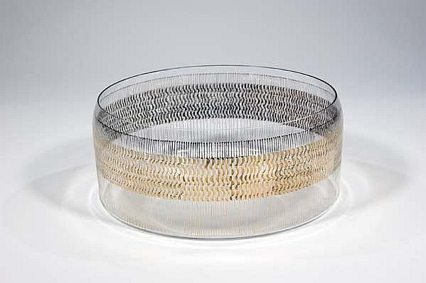 Bohumil Cabla, the bowl, 1967, colourless, painted with abstract gold accents, H: 10,0 cm, Czechoslovakia