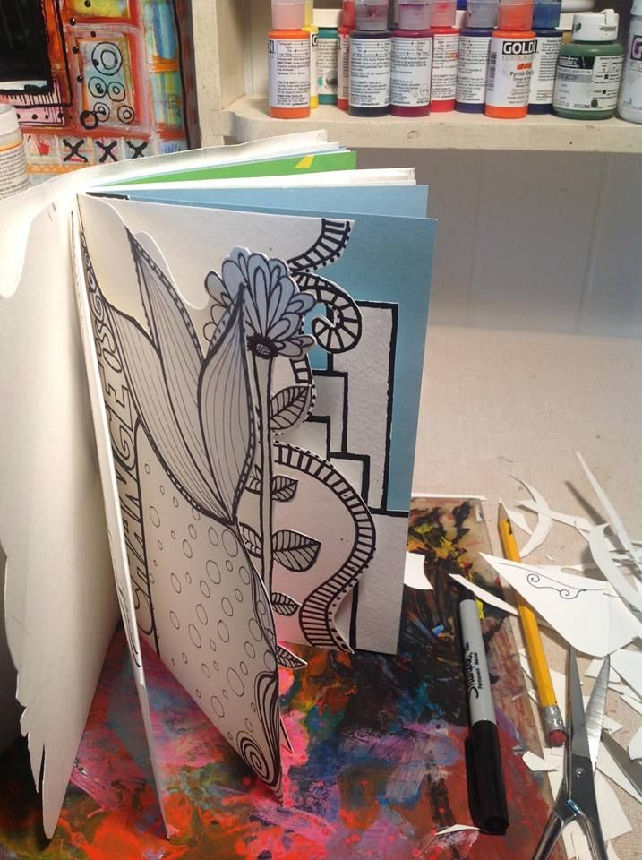 doodle, cut and color pages in your journal - not all have to be the same size, shape or color Yeahhh... why not make some interesting shapes in our journals?