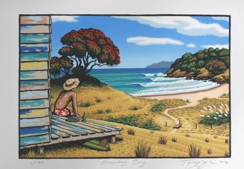 """A New Zealand Christmas - summed up with the sun, the beach, pohutukawas in flower, and the family bach!  """"Discovery Bay"""" LIMITED EDITION OF 180 490x380mm"""