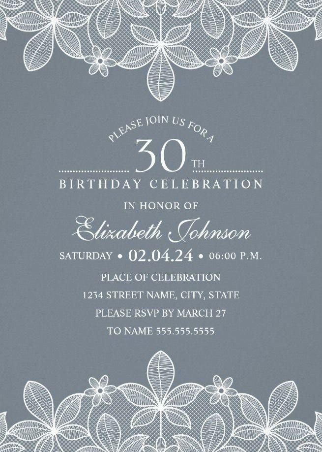 Bluish Grey Lace 30th Birthday Invitations