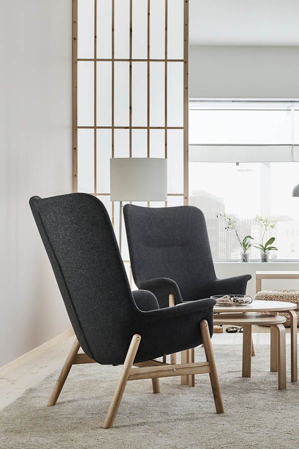 Encourage conversation, or take time for contemplation in a clean, clutter-free space. Product: VEDBO high-back armchair, $299