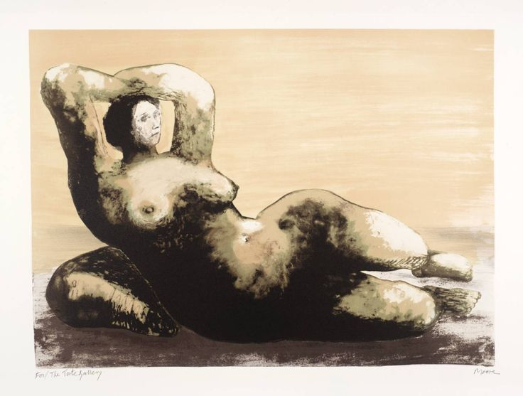 'Reclining Woman on Sea Shore' (1980-81) by British sculptor & artist Henry Moore (1898-1986). Lithograph, 444 x 610 mm. via the Tate