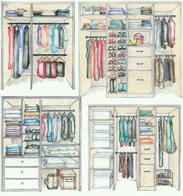 Tipos de armários organizados.