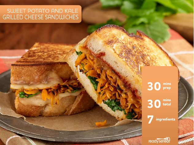 Sweet Potato and Kale Grilled Cheese Sandwiches