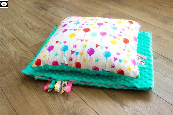 Poduszka i kocyk minky w baloniki - Misio Zdzisio