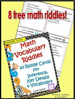 Math Vocabulary Riddle Cards for Spiral Review  Hi Teaching Friends! Solving riddles is a fun way to model and practice identifying key details making inferences and drawing conclusions. With this set of riddles for math vocabulary you'll also have lots of spiral review of math topics and the basis for some great number talks!  Here's a closer look at one of the riddle cards.  Happy Teaching!  math math vocabulary PreK-2 Primary Inspiration by Linda Nelson riddles