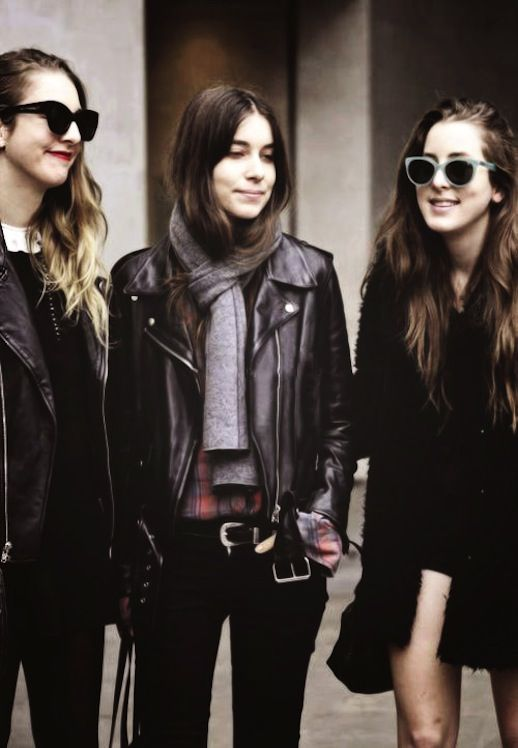 Le Fashion Blog Haim California Cool With An Edge Leather Moto Jackets Cat Eye Sunglasses Fur