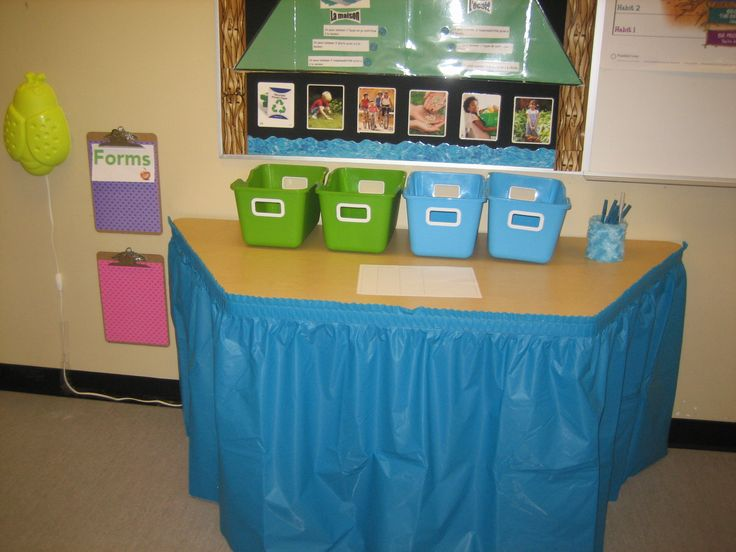 """Recycled a table skirt to fit the blue and green theme. Love hiding extra things behind this skirt. The class feels """"cleaner"""" by putting these on the tables."""