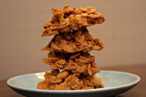 No-Bake Peanut-Butterscotch Crispies... 1 bag of butterscotch chips and 1/3 to 1/2 cup of peanut-butter melted together, stir in 4 cups cornflakes (skip the peanuts) and drop by spoonful onto waxed paper.