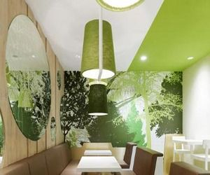 nice tone-on-tone treatment   - Wienerwald restaurant in gets forest-inspired interiors