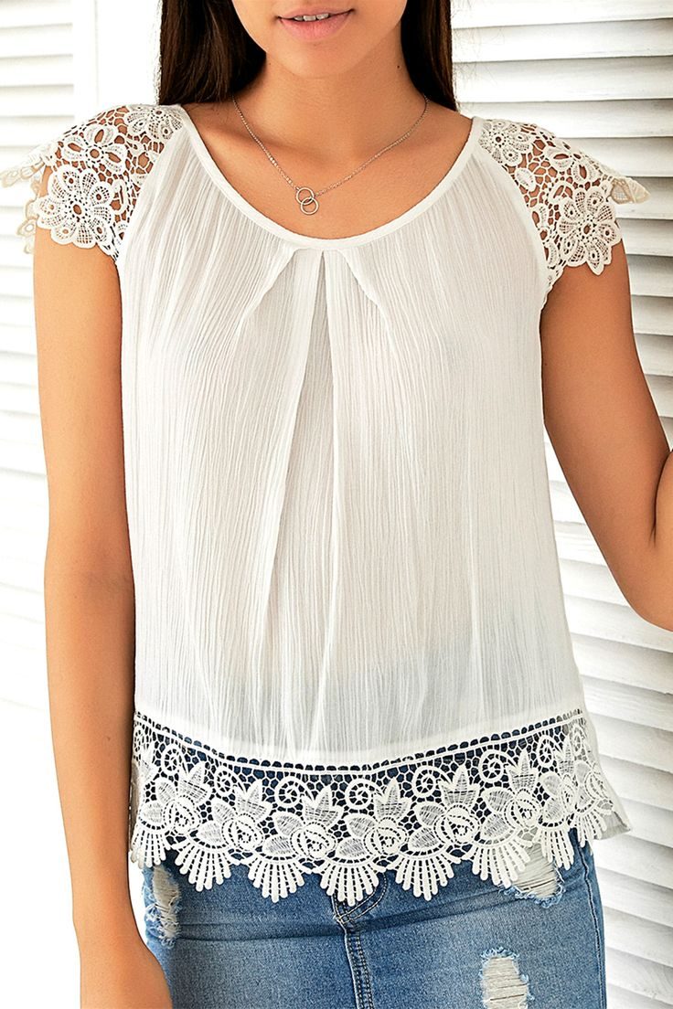 $13.42 Sweet Cap Sleeve Lace Patchwork Blouse