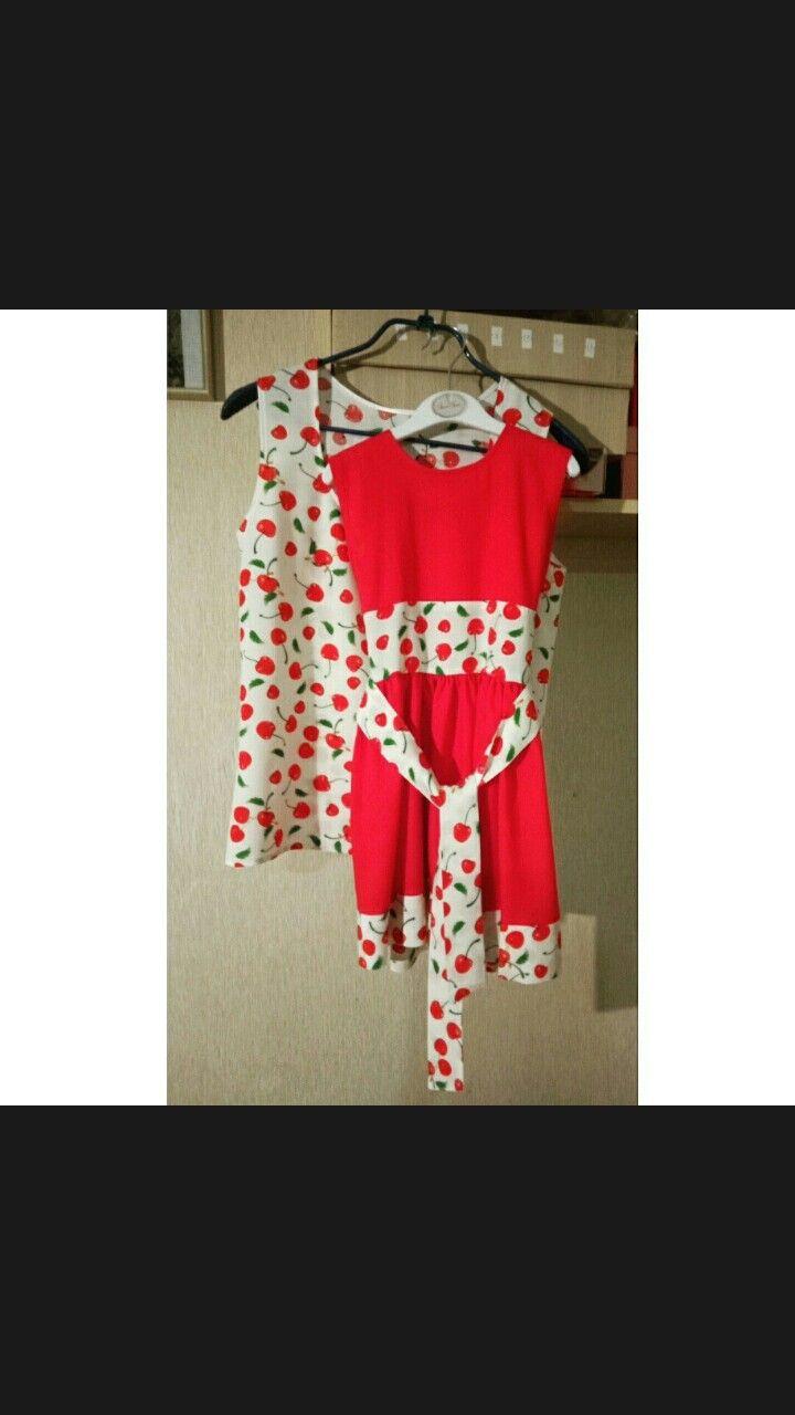 Топ для мамы, платье для дочки, ткань - вискоза.