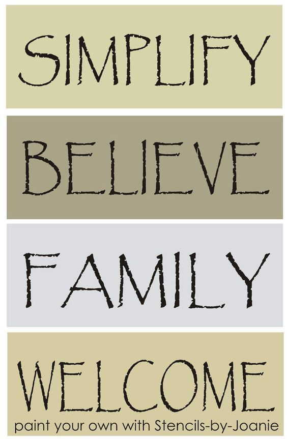 Free Printable Primitive Sayings | pc. STENCIL set Primitive Words Simplify Believe Family Welcome Lg ...