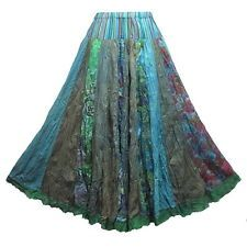 Boho Hippie Gypsy Colourful Broomstick Ruffle Cotton Long Skirt  M0635