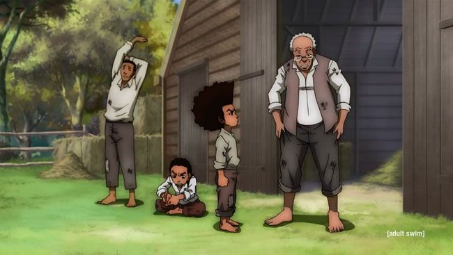 Boondocks season 4 trailer:  Boondocks creator Aaron McGruder won't be involved in the fourth and finale season but the trailer shows it'll be be as controversial as ever. Robert Freeman (John Witherspoon) tells his grandchildren Huey and Riley (Regina King) that they're in millions of dollars of debt to a loan shark. They decided raise the money by working any job they can get.  #cartoon #racist #racism #funny #adultswim  http://l7world.com/2014/04/boondocks-season-4-trailer.html