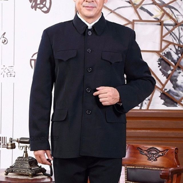 Men Single Breasted Mao Jacket Vintage Tunic Blazer Coat Zhongshan Slim Fit New
