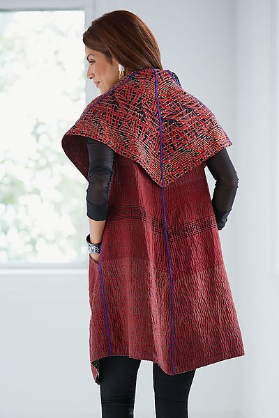 Soho Bamboo Vest by Mieko Mintz: Kantha Cotton Vest available at www.artfulhome.com