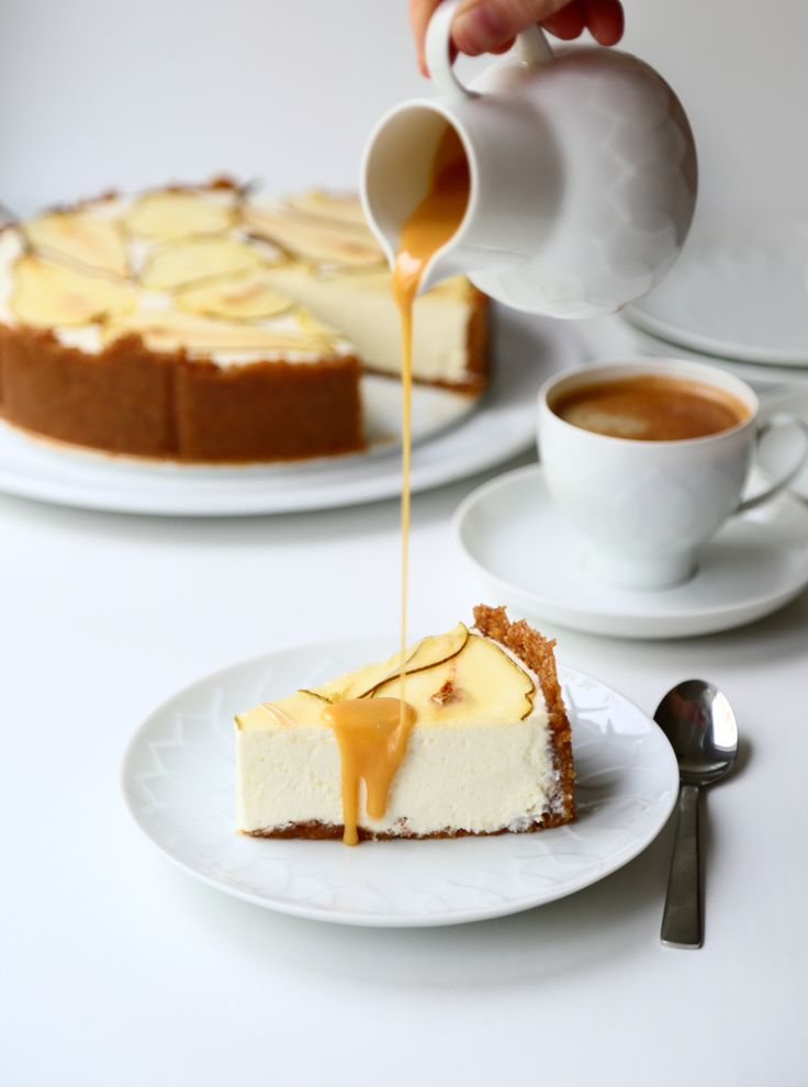 Pear cheesecake with salted caramel sauce, low carb and gluten free