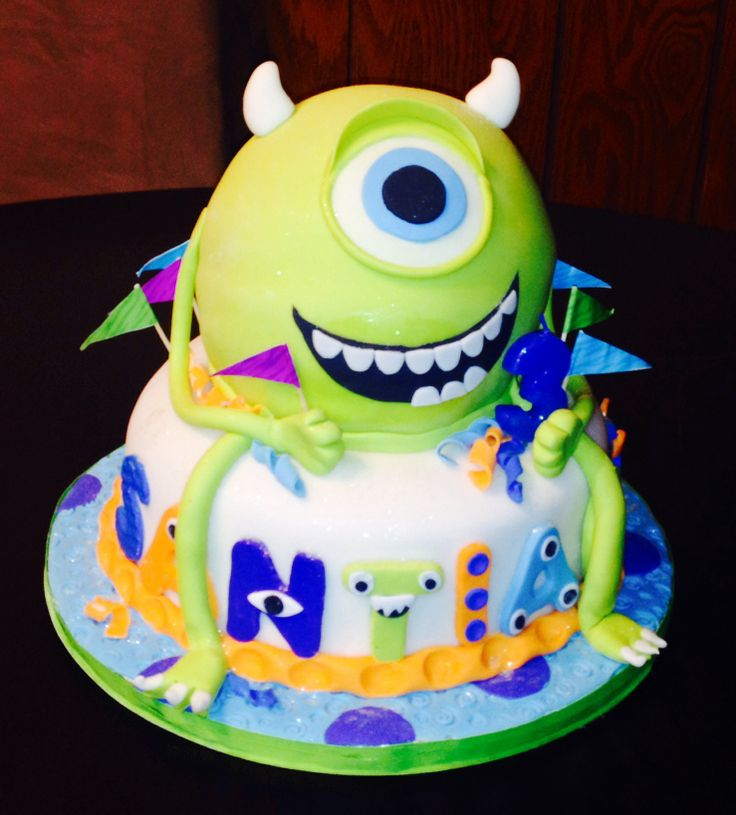 Cake Mike Wazowski  #cake #decoration #wazowski. Love this one the best as far as the mouth goes. Love the way the name is written too.
