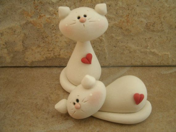 Kitty Pair countrycupboardclay on etsy