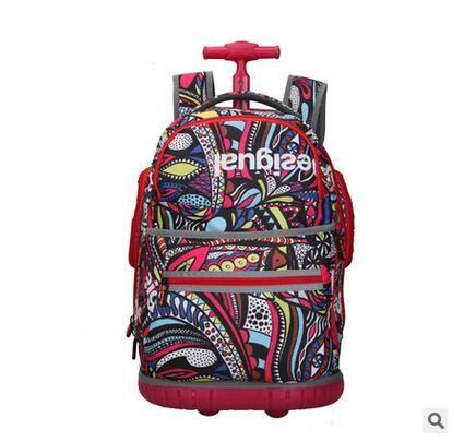 School travel luggage trolley Backpacks on wheels School Trolley Bags for teenager girl Mochilas on wheels Oxford Rolling Bag