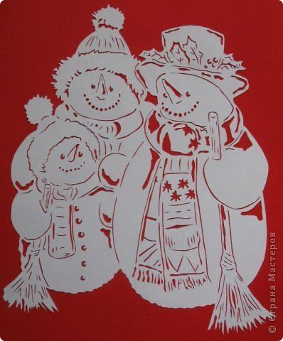 Картина панно рисунок Новый год Вырезание Семья снеговиков Бумага фото 1
