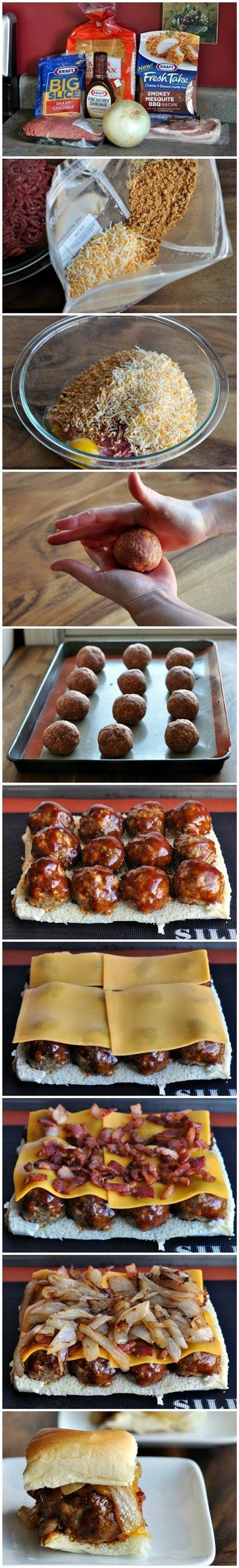 Smokey Mesquite BBQ Meatball Sliders  Use fried shoestring onions instead of big chunky pieces
