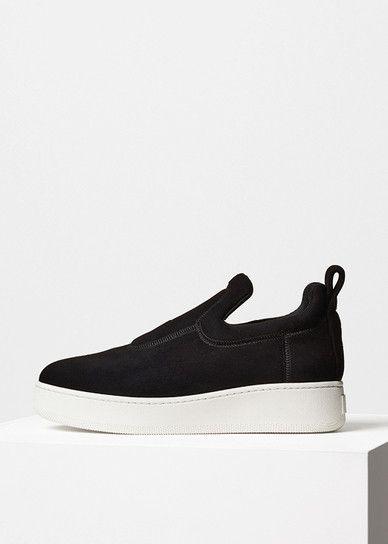 Pull On Sneaker in Black Stretch Suede - Céline