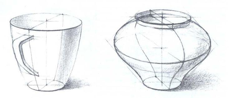 Объемно-пространственное и конструктивное построение форм предметов