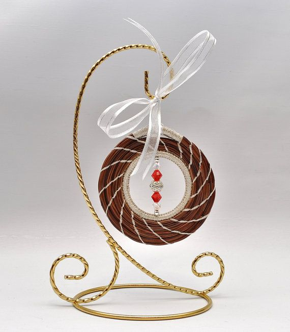 Christmas Ornament Longleaf Pine Needle Red and by LongleafStudio