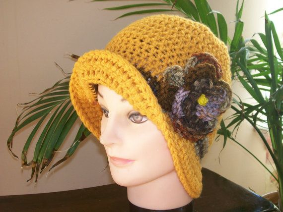 @Mandy Odum Crochet Clouche Hat  Gold by pjcrochets on Etsy, $30.00... I have a flower