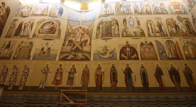Romanian Frescoes More Orthodox church interiors: http://whispersofanimmortalist.blogspot.com/2015/04/church-interior-1.html