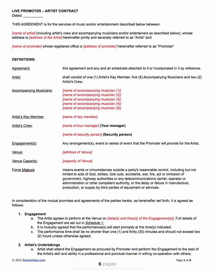 Music performance contract template elegant live promoter