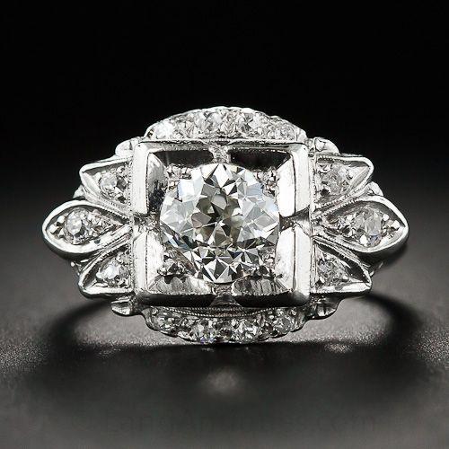 1.35 Carat Mid-Century Platinum and Diamond Ring - 10-1-6251 - Lang Antiques