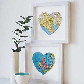 DIY heart map prints... i love maps and this is a neat way to use vintage or old paper maps. Also could be a cool way to commemorate places you've visited or used to live.