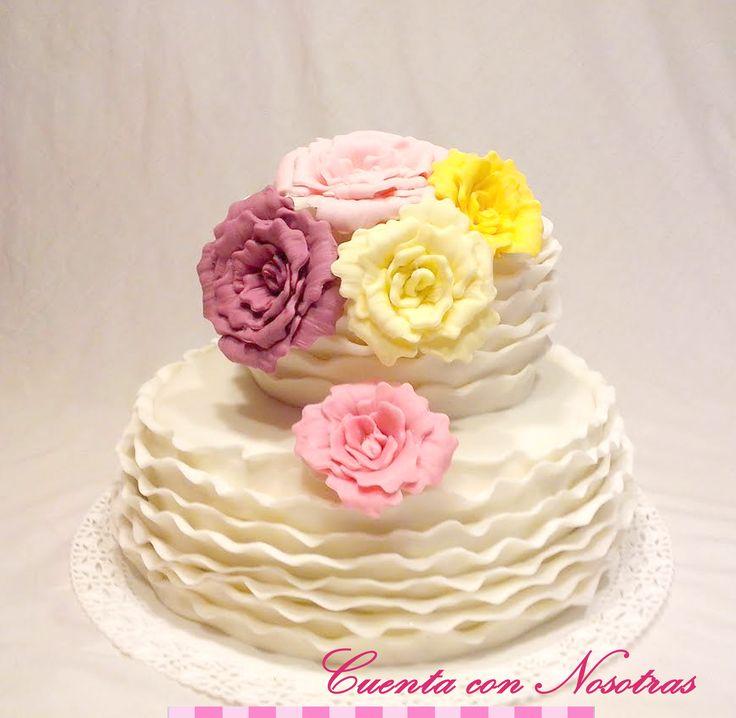 Torta novios Torta boda Torta flores Wedding Cake