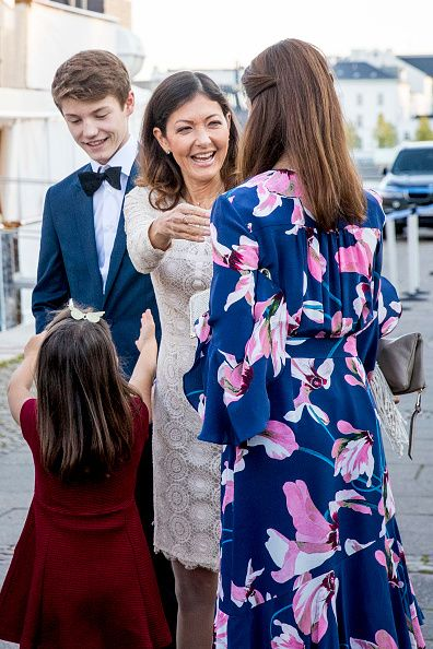 (L-R) Prince Felix of Denmark with his mother Countess Alexandra of Denmark, his half sister Princess Athena and his step mother Princess Marie of Denmark attend the 18th birthday celebration of his older brother Prince Nikolai at royal ship Dannebrog on August 28, 2017 in Copenhagen, Denmark.
