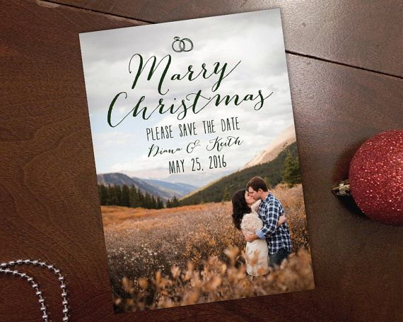 Marry Christmas  Save the Date Photo Card by Whimsy Design Studio