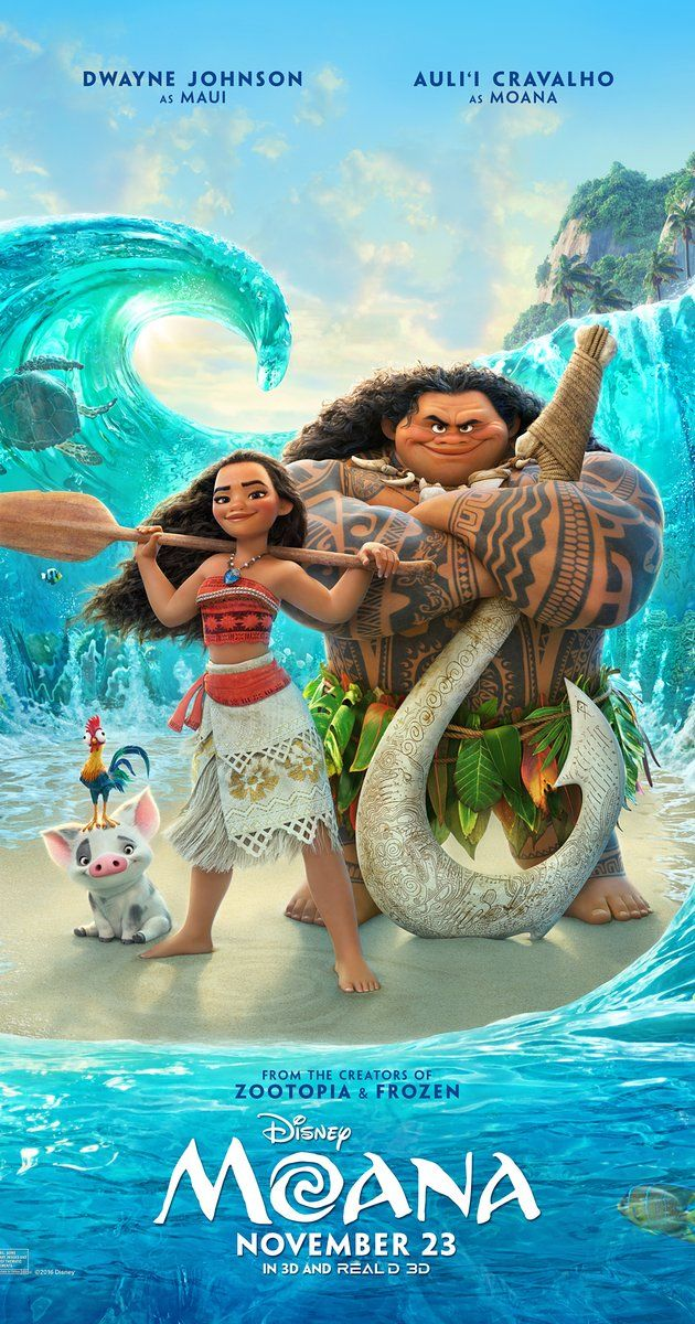 Directed by Ron Clements, Don Hall, John Musker.  With Auli'i Cravalho, Dwayne Johnson, Rachel House, Temuera Morrison. In Ancient Polynesia, when a terrible curse incurred by the Demigod Maui reaches Moana's island, she answers the Ocean's call to seek out the Demigod to set things right.