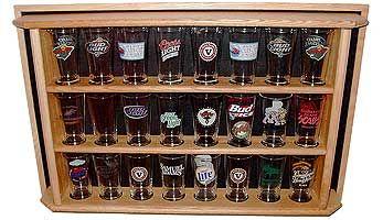 Oak Pint Beer Glass Display Shelf Details - Display Shack - Collectable Cases Racks & Shelving