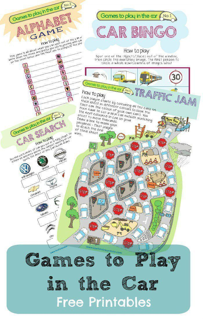 Printables games to play in the car including car bingo, alphabet game, car search and more
