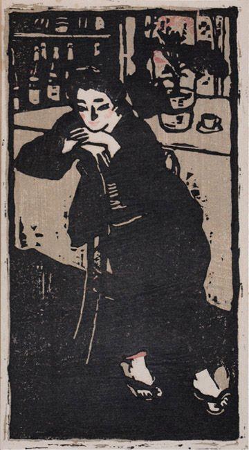 Saburo Ota  Woman in a café, 1914  woodblock print